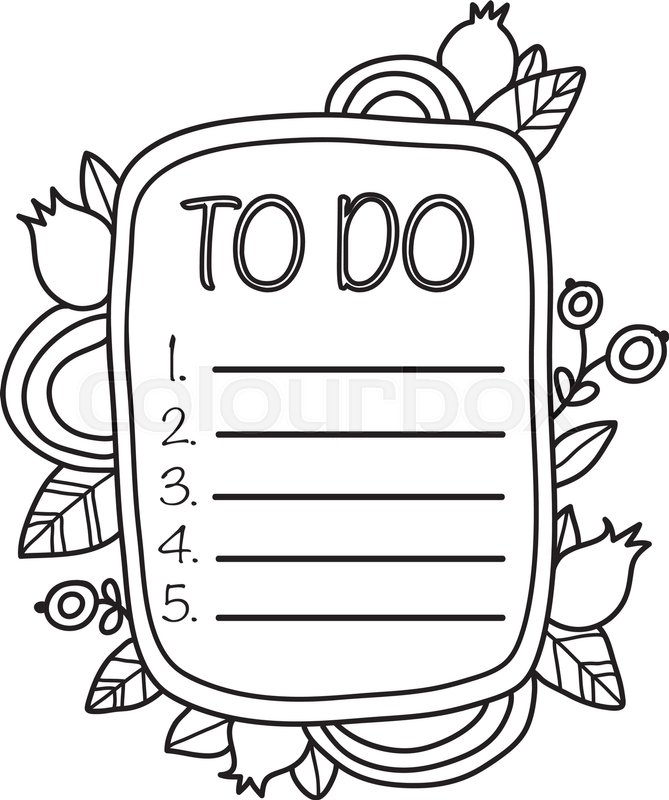 Printable To Do List page. Fun summer doodle frame. Floral