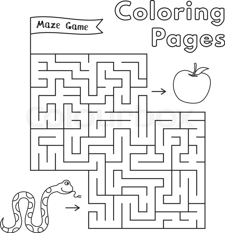 Cartoon snake maze game. Vector coloring book pages for