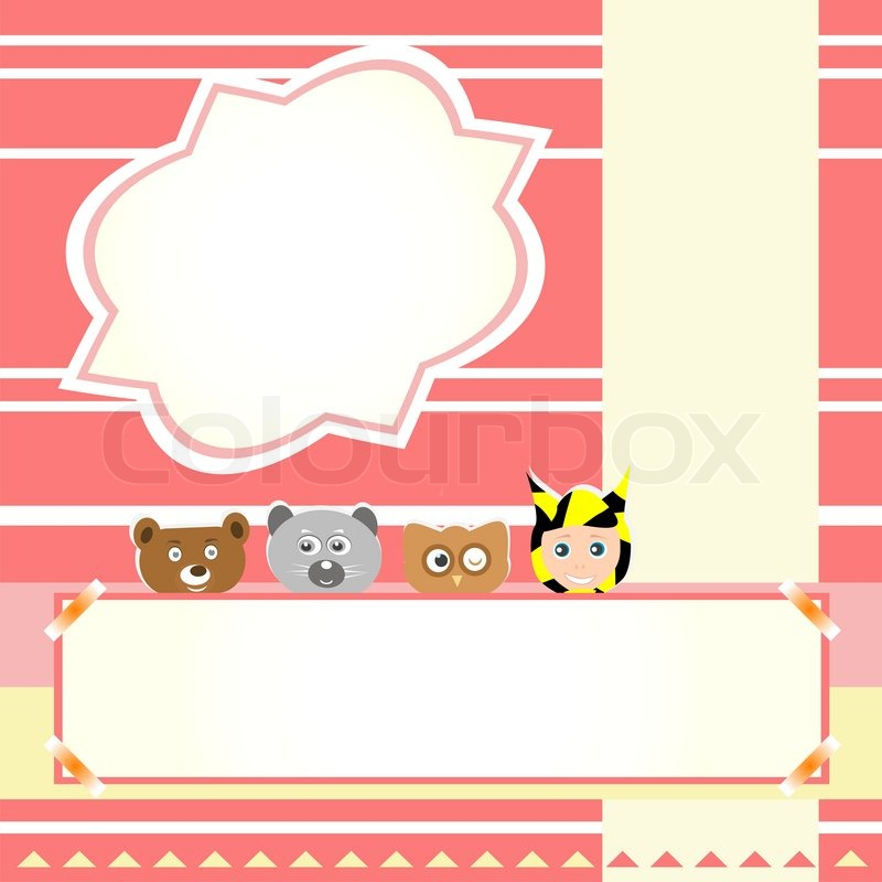 Cute Birthday Wallpaper For Girl Animals And Child Beautiful Greeting Stock Vector