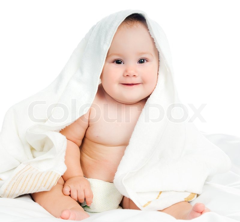 Small Child In A Towel On A White Background Stock Photo