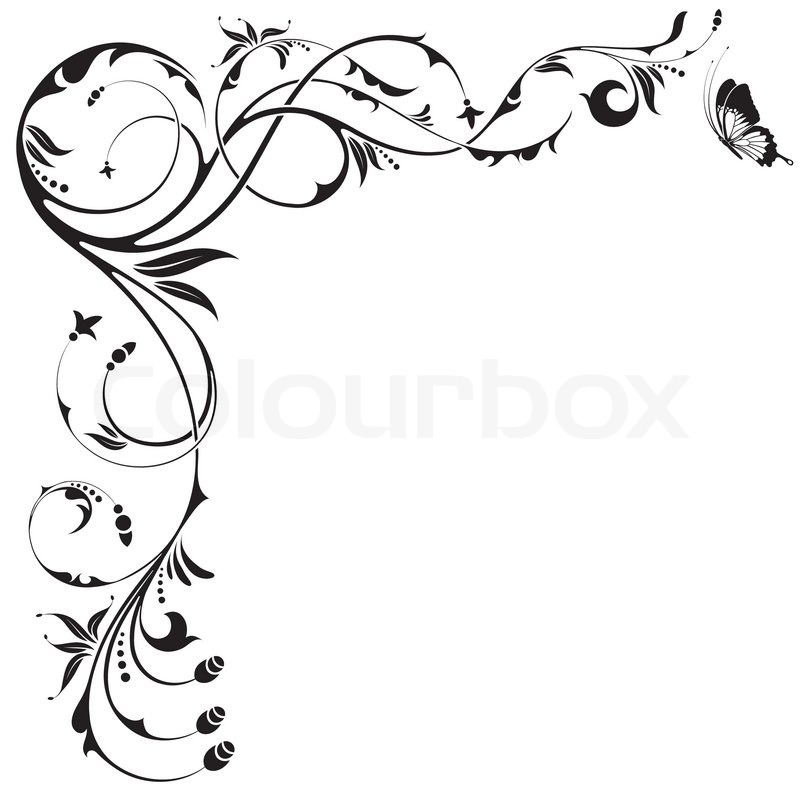 Floral border with butterfly, element for design, vector