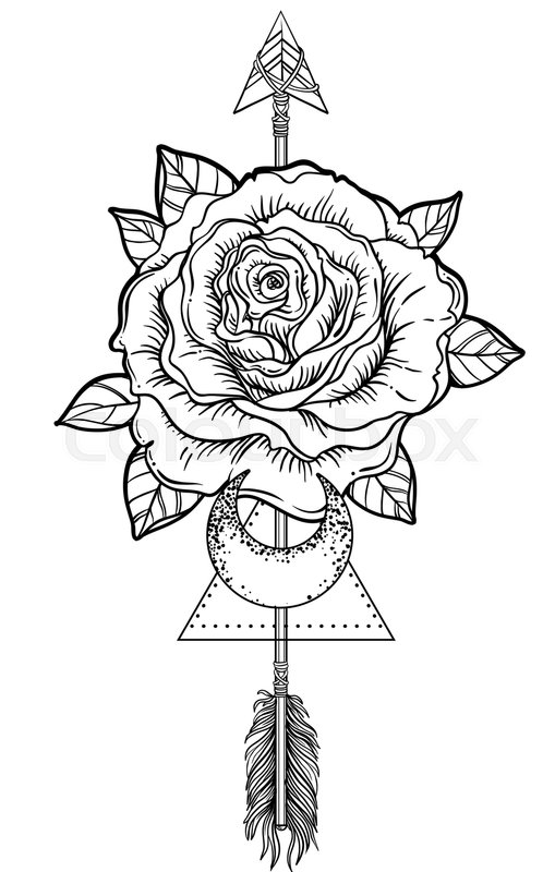 Blackwork tattoo flash. Rose flower, arrow and moon
