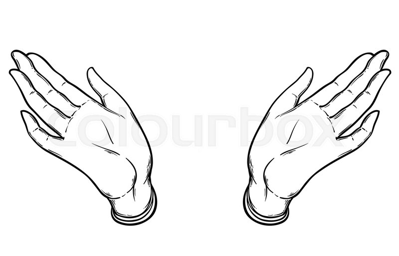 Open hands. Hand drawn illustration. Occult design vector