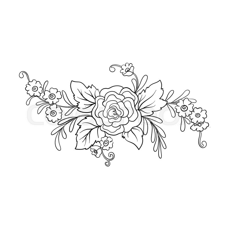 Outline vintage flowers bouquet or pattern in rococo