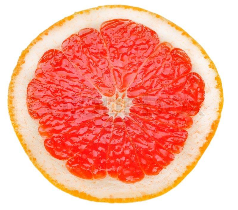 Red Grapefruit Slice Isolated On White Background Stock