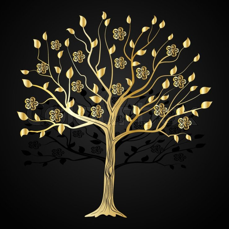 Gold tree with flowers on black ... | Stock vector | Colourbox