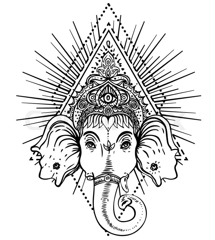 Hindu Lord Ganesha over ornate mandala pattern. Vector
