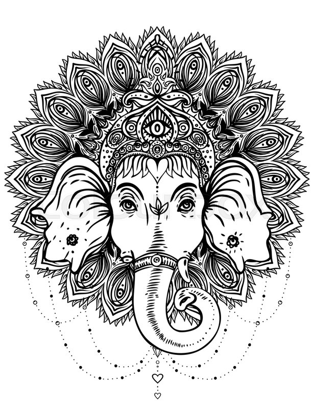 Hindu Lord Ganesha over ornate mandala pattern. Vector