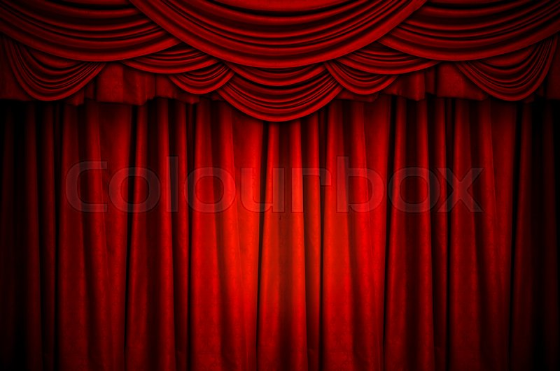 Red Closed Curtain With Light Spots On The Stage For Background Stock Photo Colourbox