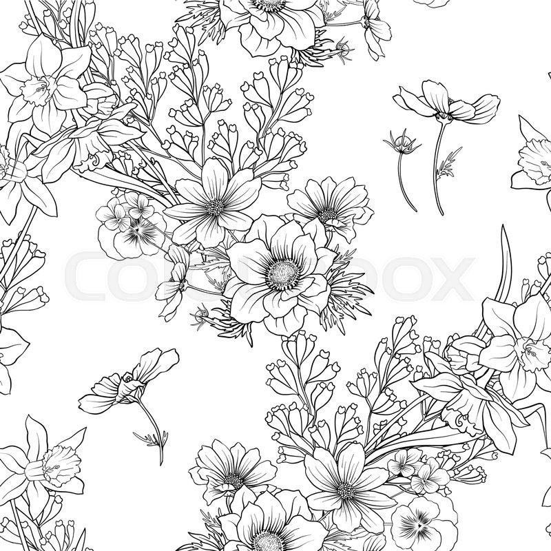 Seamless pattern with poppy flowers daffodil, anemone