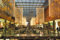 A large shopping mall center in Berlin, decorated for ...