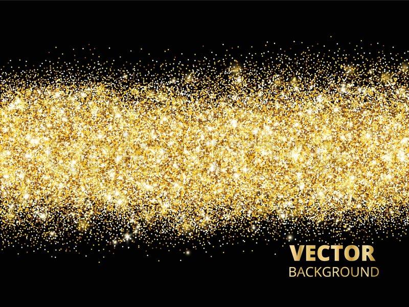 Sparkling Glitter Border On Black Festive Background With