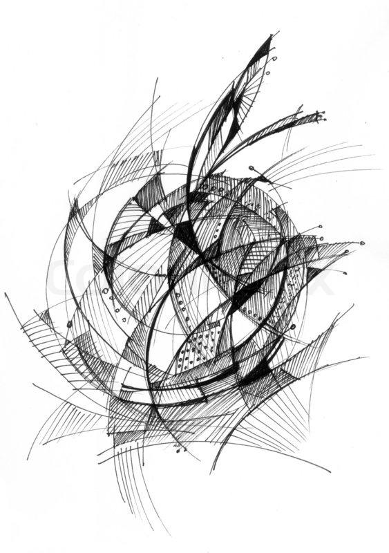 Abstrakte Zeichnung schwarzer Tinte mit ungewöhnlichen