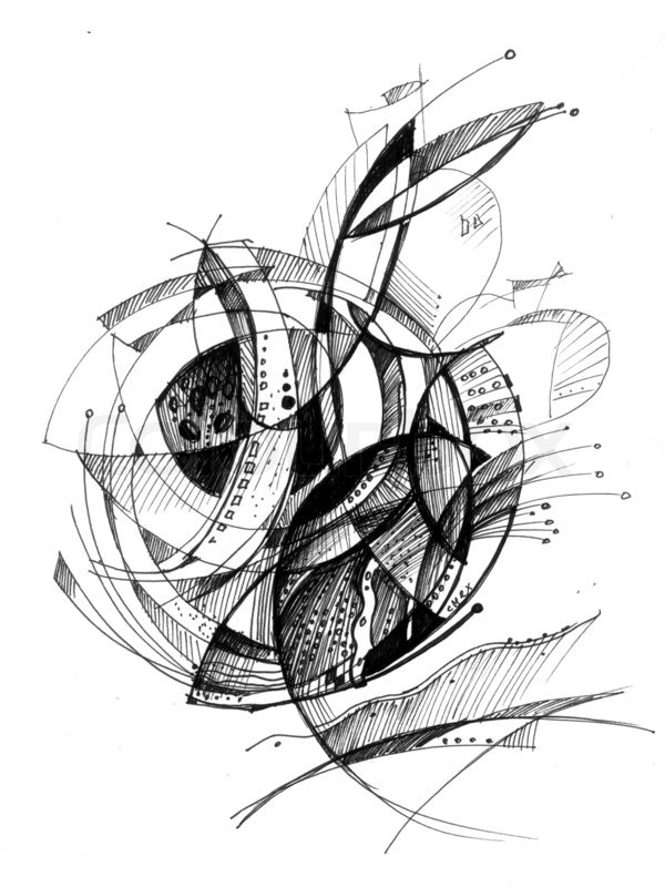 Abstract drawing black ink with unusual spiral structure