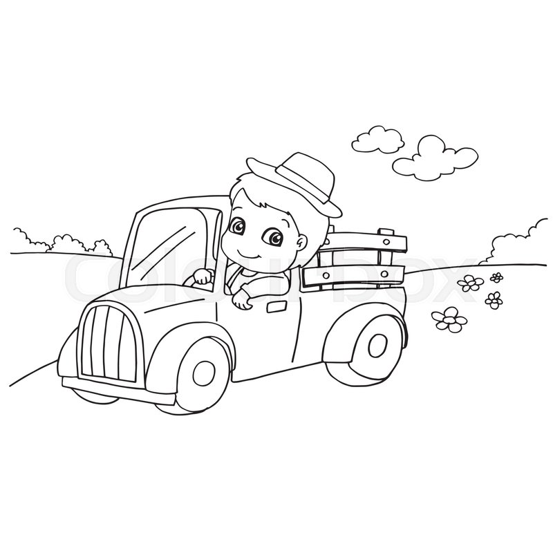 Image of Little boy driving a toy car coloring page vector