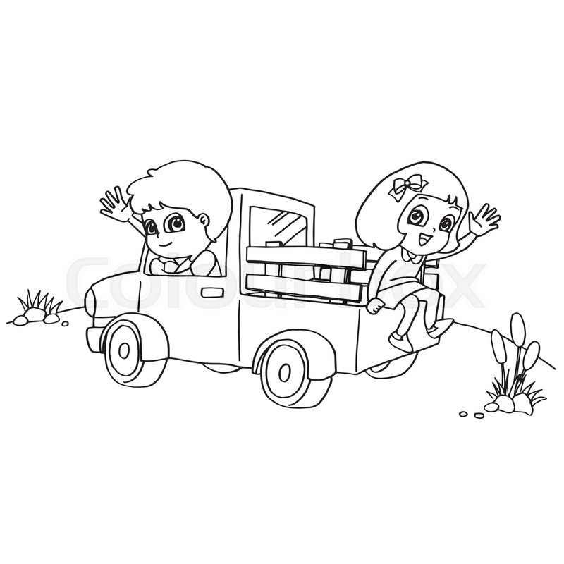 Image of Little boy and friend driving a toy car coloring