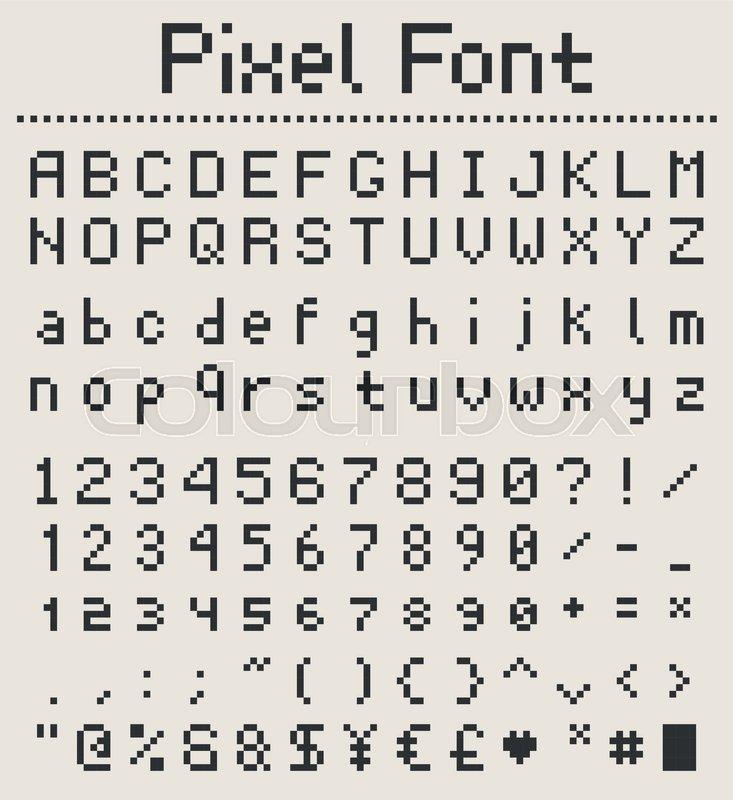 Pixel retro font, videogame type, 8-bit alphabet letters