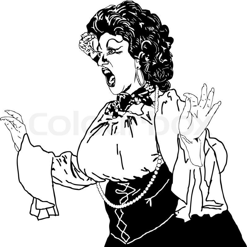 Sort og hvid tegning af en kvinde sang skuespiller whiling