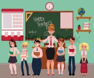 Full length portrait of female teacher Stock vector Colourbox
