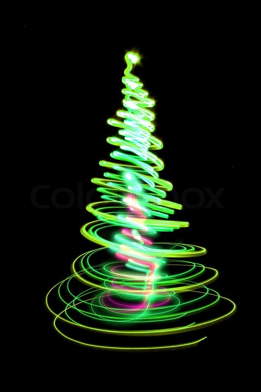 Red Star 3d Wallpaper Christmas Tree Form The Color Lights On The Black
