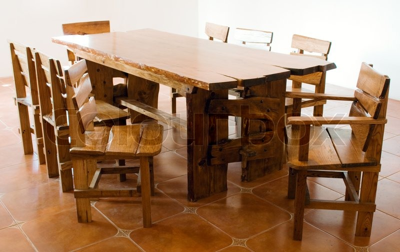 oak kitchen table and chairs cabinet for appliances large old wooden | stock photo colourbox