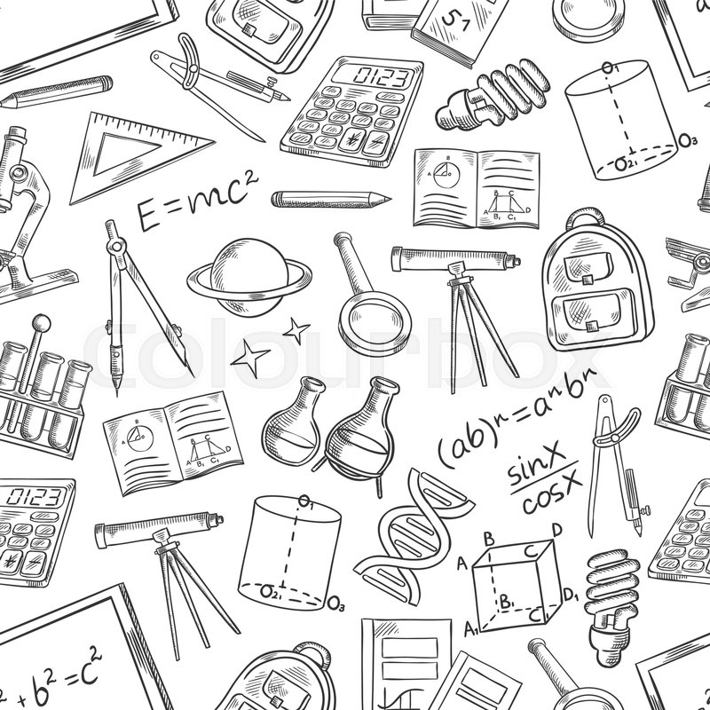 School and education supplies sketch seamless pattern