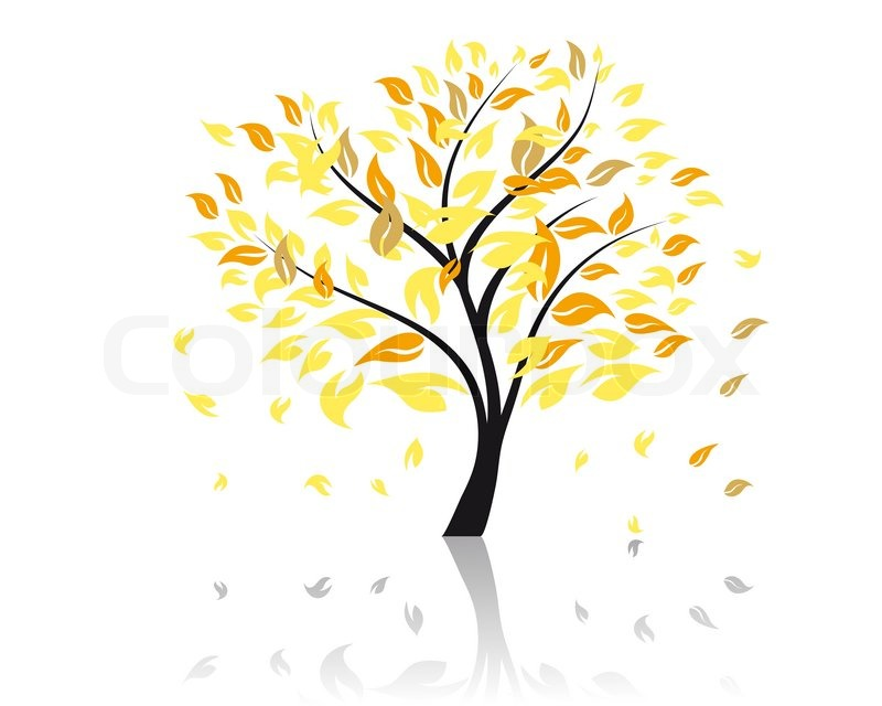 Fall Harvest Wallpaper Backgrounds Vector Illustration Of Autumn Tree With Falling Leaves