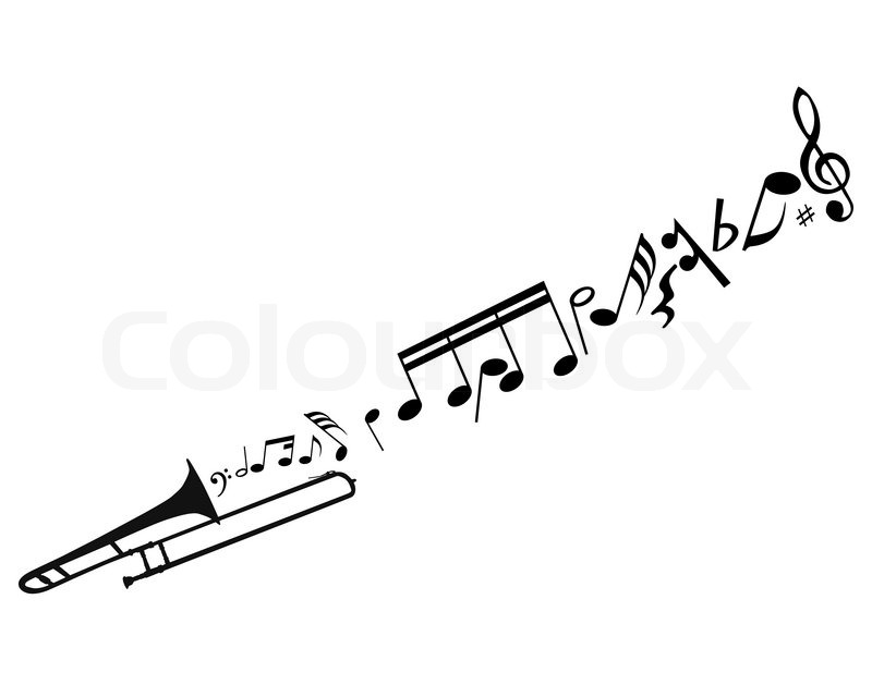 Abstract music background with different notes and wind