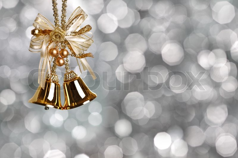 Free Animated Snow Fall Wallpaper Gold Christmas Bells On Silver Blurred Background Stock