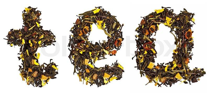 Das Wort Tee aus einer Mischung von   Stockfoto