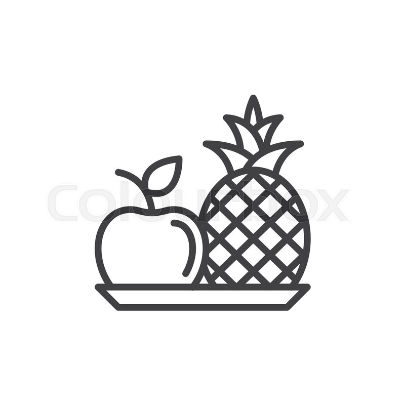 Pineapple and apple line icon, outline vector sign, linear