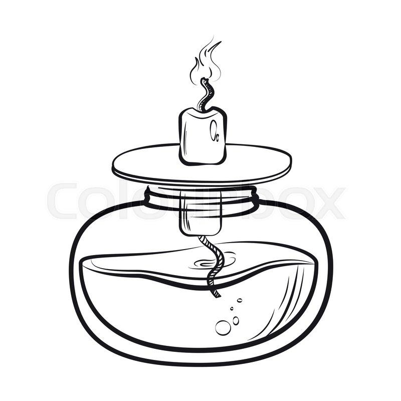 Sketch of spirit lamp chemical burner. Chemical