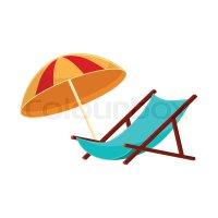 Lounge chair and striped beach umbrella, cartoon vector ...