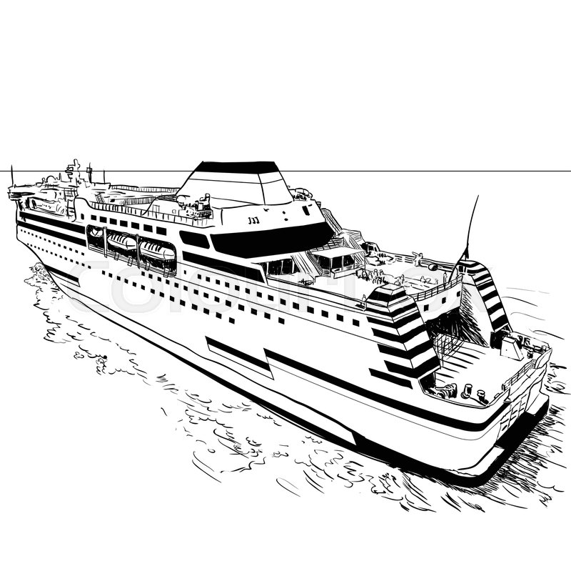 Hand drawn sketch of Ferry, Black and White simple line