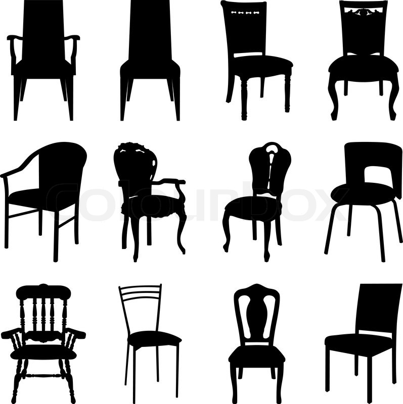 office chair illustration wicker that hangs from ceiling collection of different chairs silhouettes vector | stock colourbox