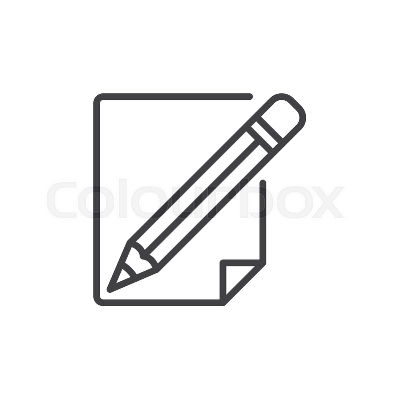 Pencil and paper line icon, outline vector sign, linear