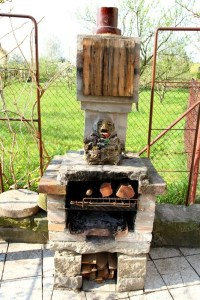 Home made outdoor fireplace in the garden | Stock Photo ...