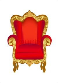 Illustration old chair red with gold ornament on white ...