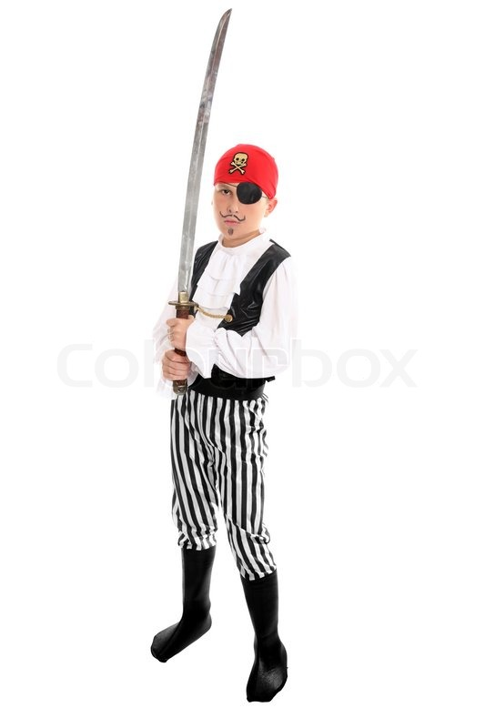 Full length boy wearing a pirate costume and holding a