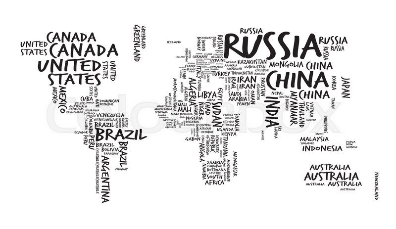 World Map with Countries name Text or Typography, Sketch