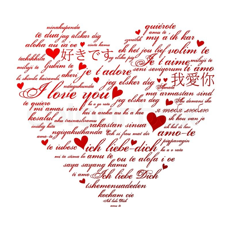 Download Say I love you in many languages | Stock Vector | Colourbox