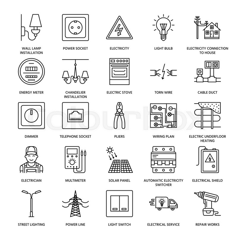 Electricity engineering vector flat line icons. Electrical