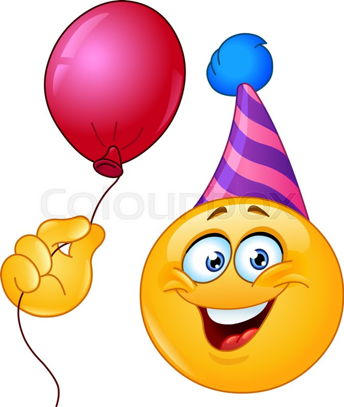 Birthday Emoticon With Party Hat Holding A Balloon Stock