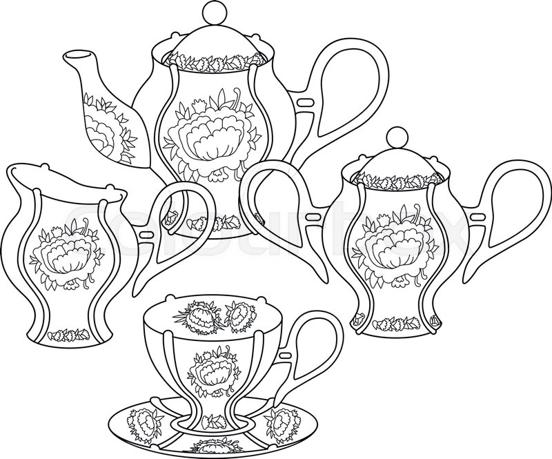 Tea set with high details. Adult antistress coloring page