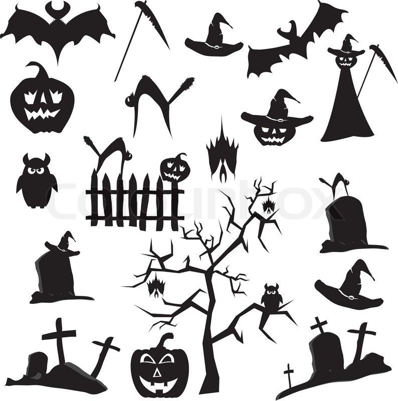 Vector Set Halloween bat, kat , le, hat , træ, grav , ow