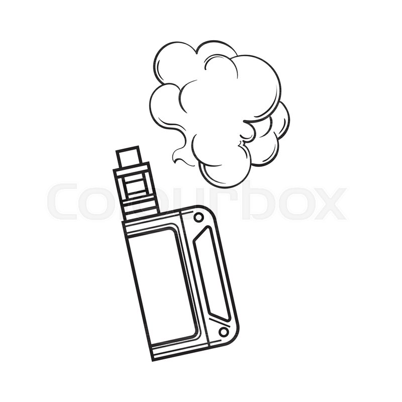 Hand drawn vape, vaping device with smoke cloud, black and