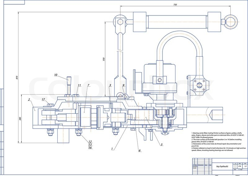 Machine-building drawing. Key hydraulic. Vector