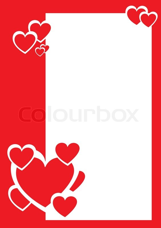 Red And White Hearts Decorative Border Vector