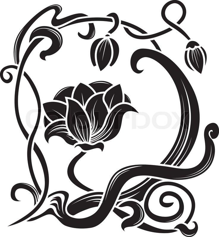 Flower stencil. decorative element in art nouveau style