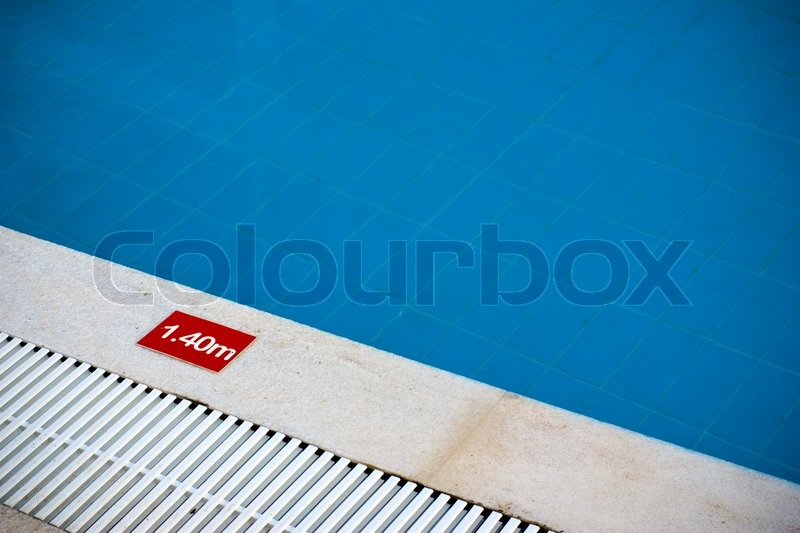 Pool depth sign at the edge of swimming   Stock Photo  Colourbox
